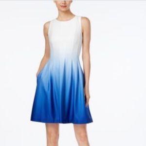 Calvin Klein fit flare ombré blue white dress 12
